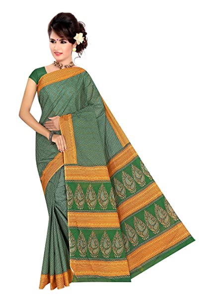 e720495372 Cotton King's Women Yellow - Green Small Print Pattern 100% Pure Cotton  Printed Sarees With Blouse: Amazon.in: Clothing & Accessories