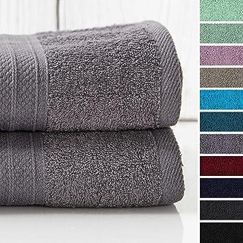 Lumaland Premium 2 Set XXL Toalla de baño y Toalla de Manos de Rizo 100 x 150 cm 100% algodón 500 g/m² con Cinta Gris: Amazon.es: Hogar