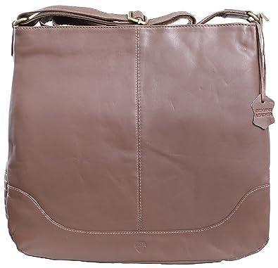 RICANO CIRY, Damen Ledertasche Handtasche   Umhängetasche aus Lamm Nappa  Echtleder in Braun bc0a37cbfa