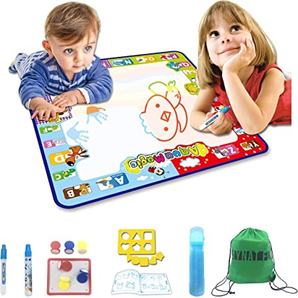 Aqua Magic Drawing Mat – Water Doodle Mat No Mess Coloring for Toddlers, 2  Magic Wet Markers– Educational STEM Toys Learning Activities for Children  ...