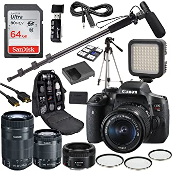 Amazon.com: Canon EOS Rebel T6i - Kit de vídeo para cámara ...