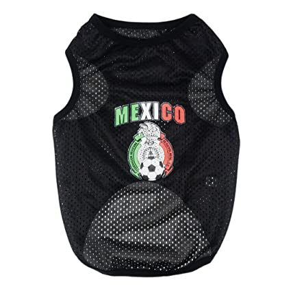 Chaya Dog Clothes- Mexico World Soccer Jersey Black Pet Tank for Small Dogs (L
