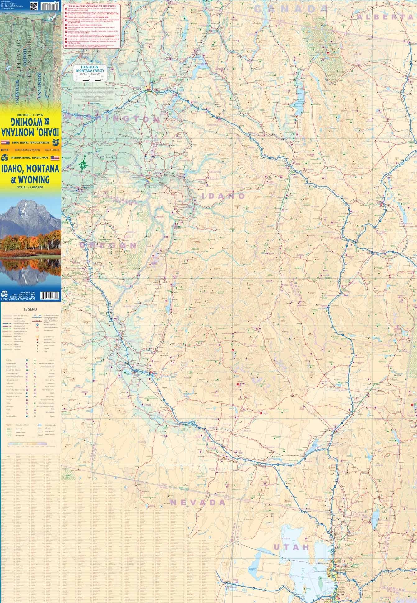 Montana And Idaho Map.Idaho Montana Wyoming Travel Reference Map Itmb Publishing Ltd