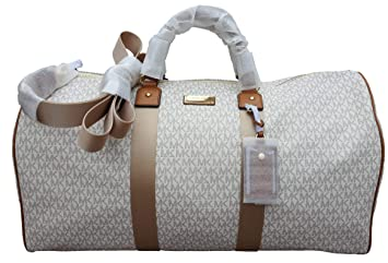 cb2bf809b5ed92 Image Unavailable. Image not available for. Color: Michael Kors Michael Kors  Leather PVC Travel Logo Duffle Large Bag ...