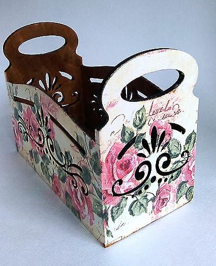 Hecho a mano soporte caja de madera contrachapada para manualidades, multicolor cocina decoración del hogar