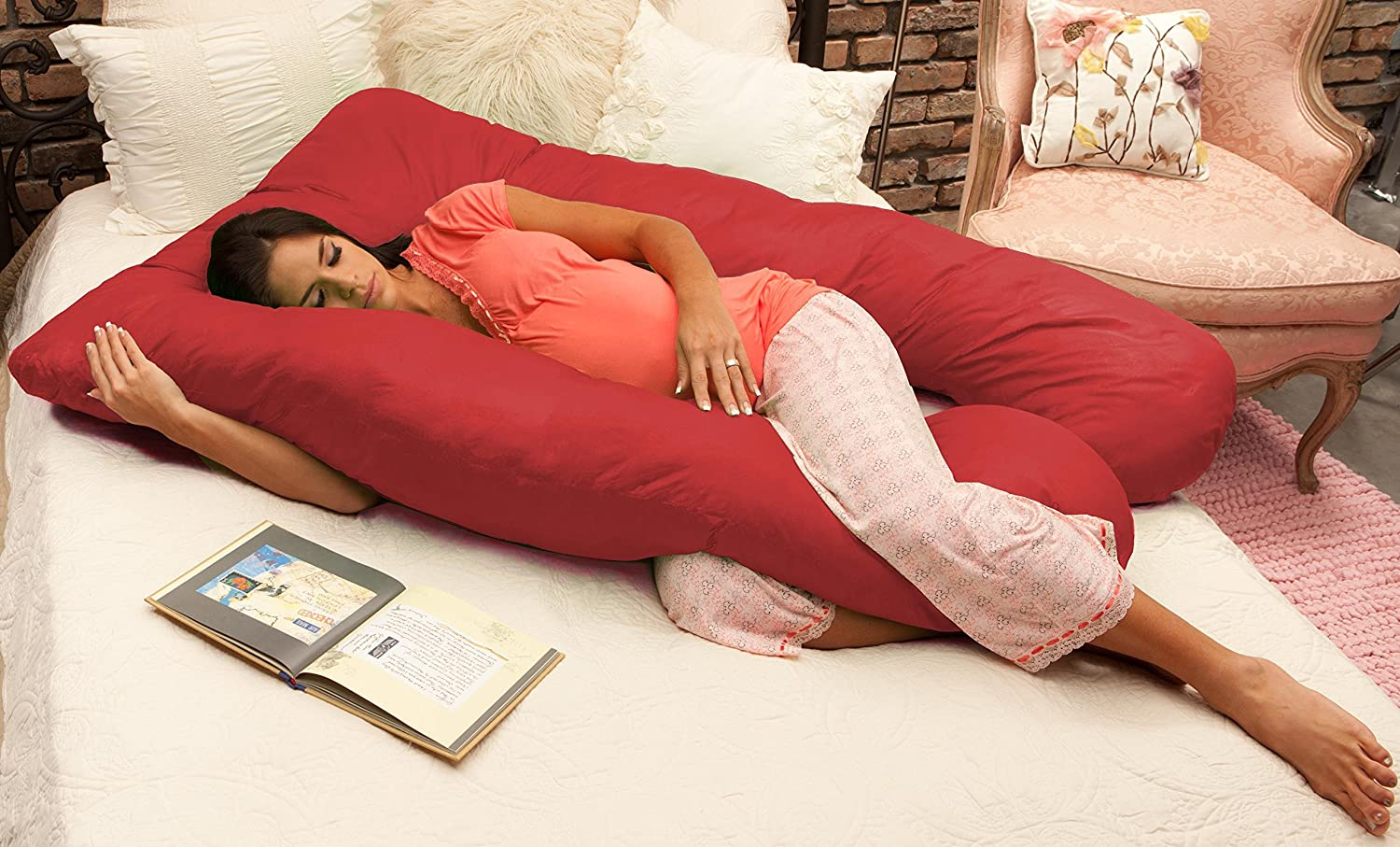Naomi Home Cozy Body Pillow, Red 11122