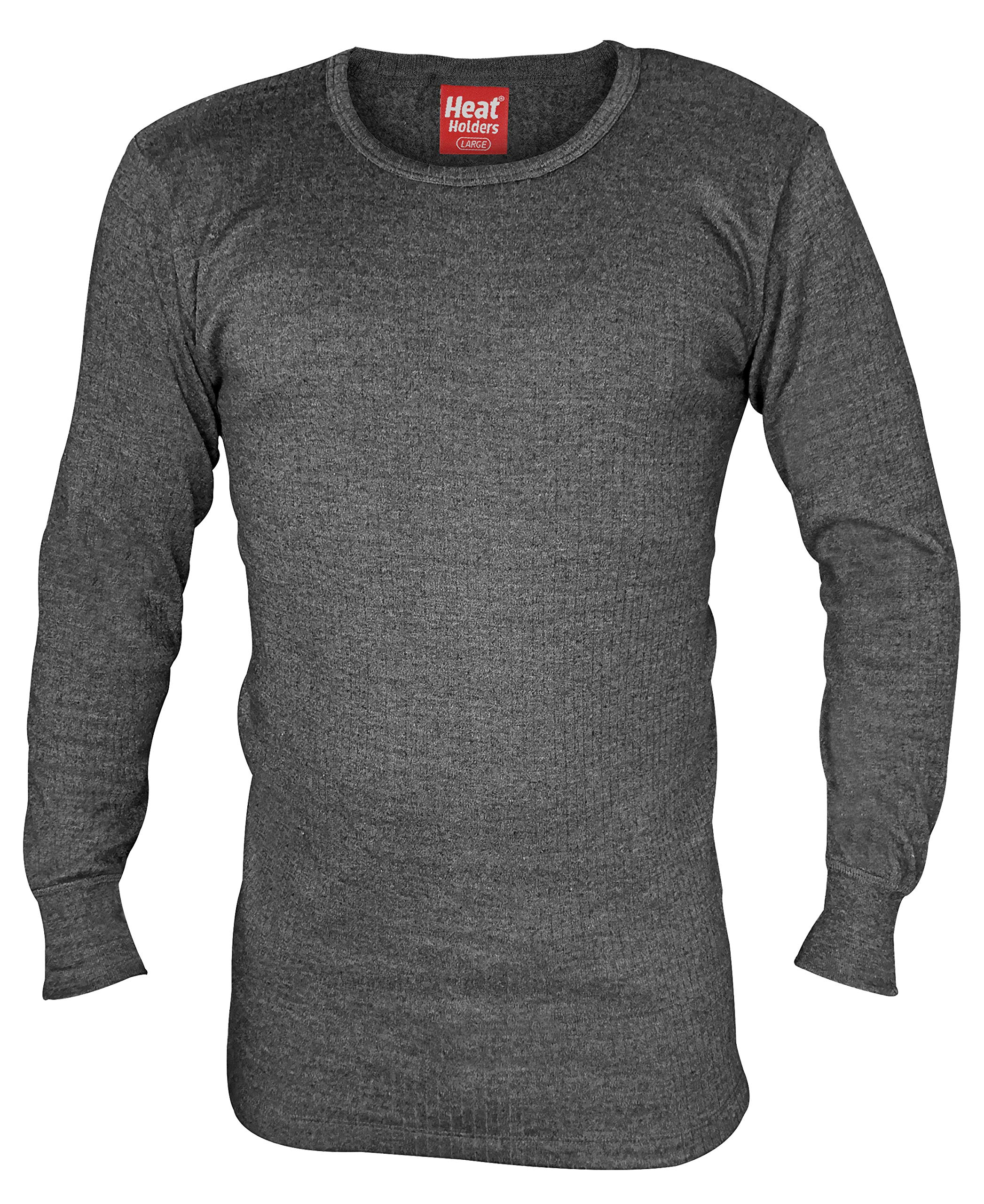 HEAT HOLDERS - Mens Winter Warm Thermal Underwear Long Sleeve Vest Top Shirt (Large: 41-43'' Chest, Charcoal) by HEAT HOLDERS