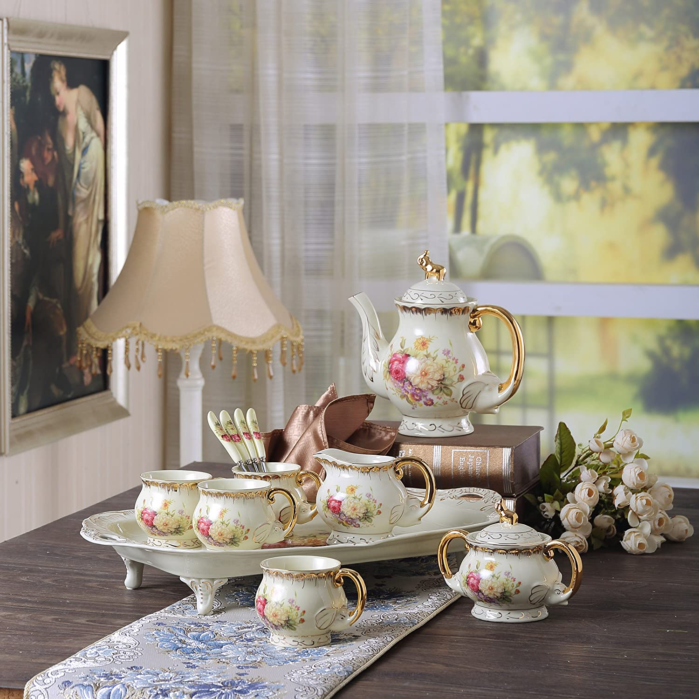Cremefarbe 4 Kaffeetassen mit 4 L/öffel 1200 ml Kaffeekanne Milch und Zuckerset und Servierplatte Panbado Porzellan Kaffeeservice 12 teilig Set