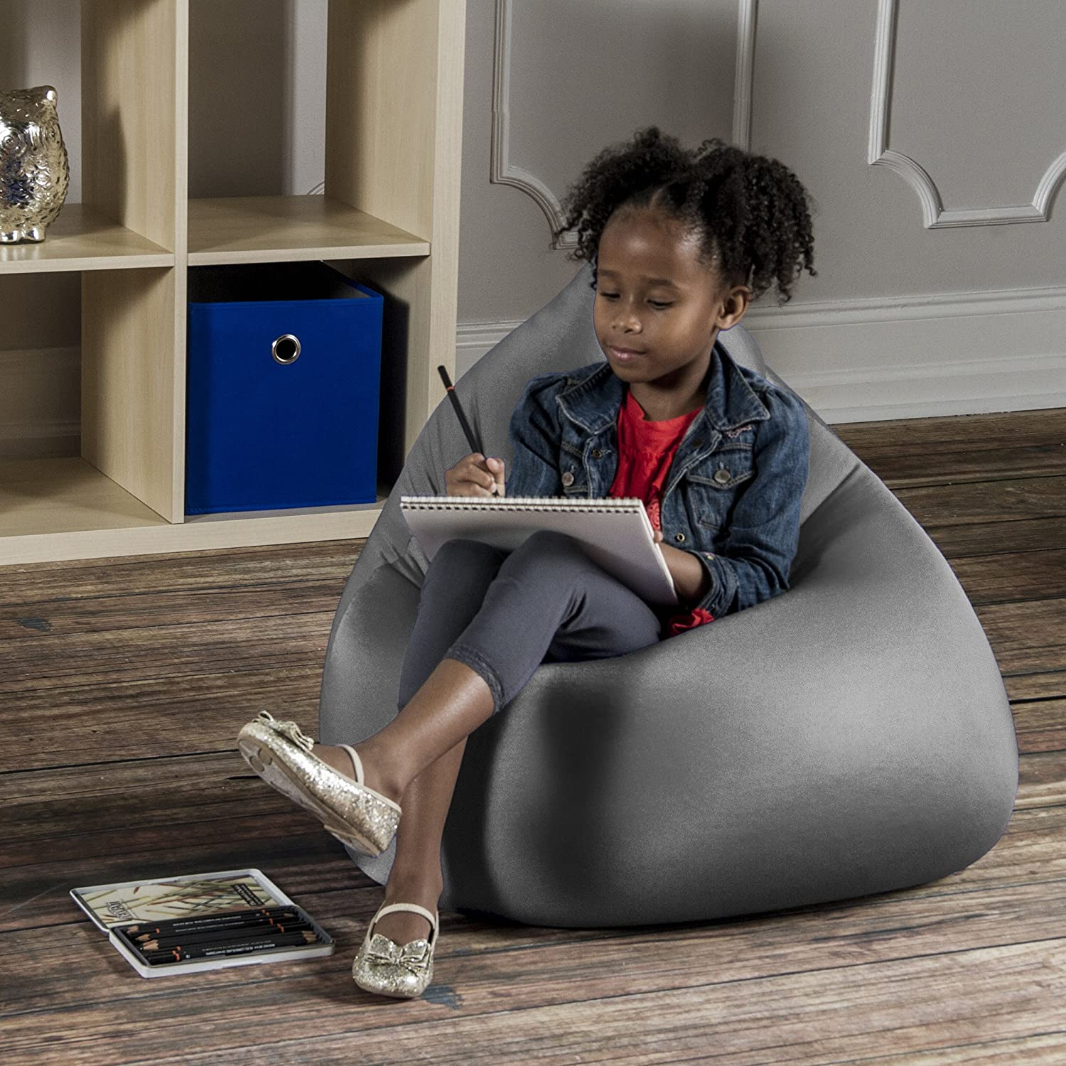 Jaxx 16757347 Nimbus Spandex Bean Bag Chair Furniture for Kids Rooms, Playrooms, and More, Small, Silver