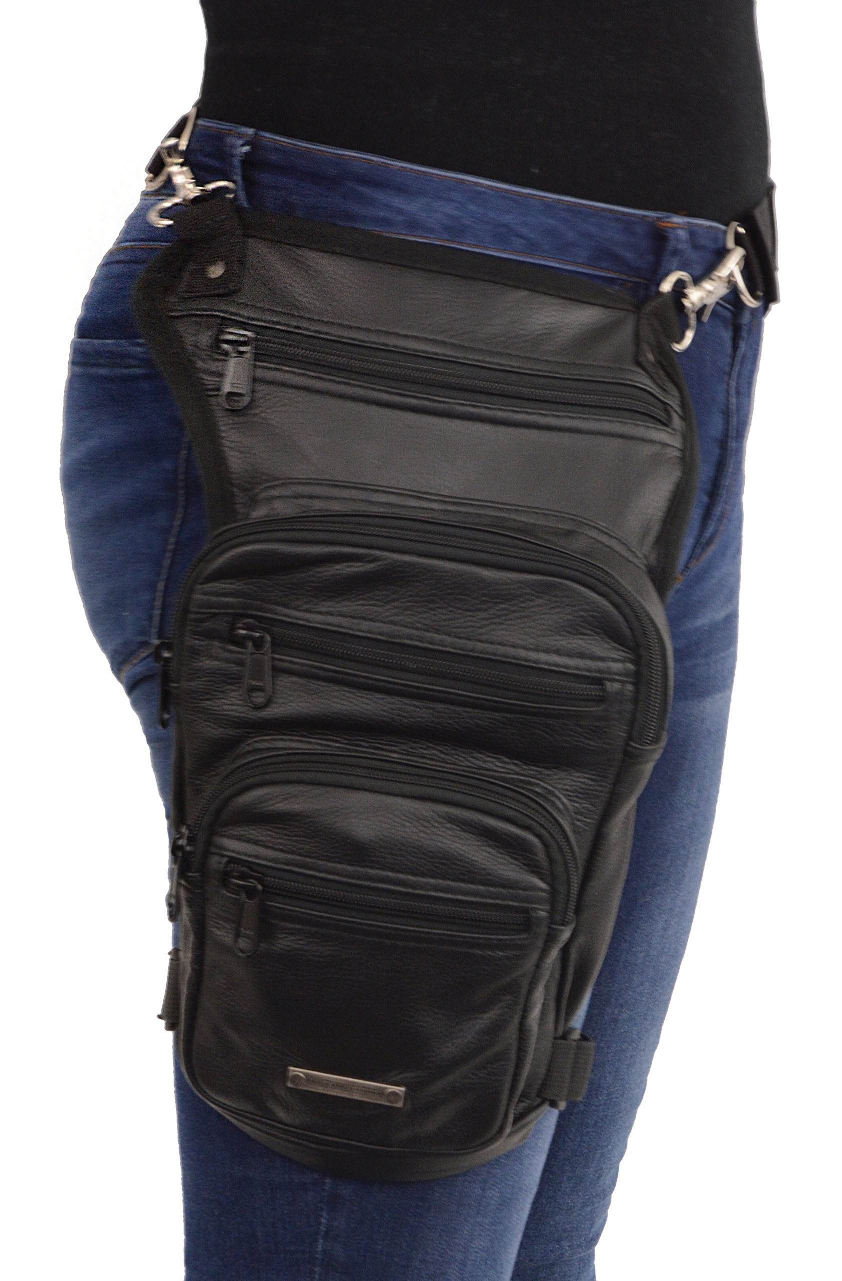 Milwaukee Leather MP8895 Black MP8895-BLK-Conceal & Carry Leather Thigh Bag w/Waist Belt