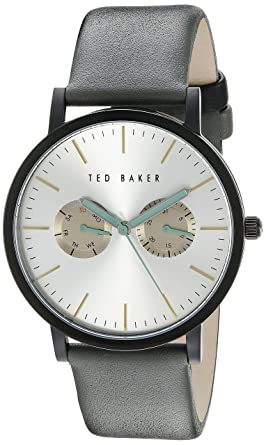 78c222f93 Ted Baker Men s TE1095 Smart Casual Round Black Multi-Function Light Grey  Strap Watch