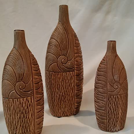 Amazon Decorative Vases Set Of 3 Ceramic Vases Coffee Toned