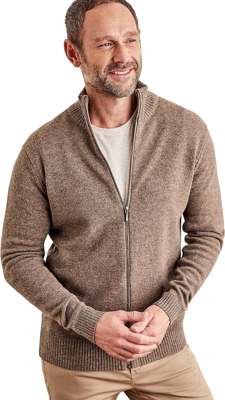 Wool Overs Mens Lambswool Lincoln Zipper Cardigan Vole Marl XL