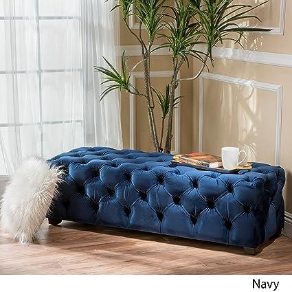 blue velvet bench. Great Deal Furniture 298425 Provence Navy Blue Tufted Velvet Fabric Rectangle Ottoman Bench