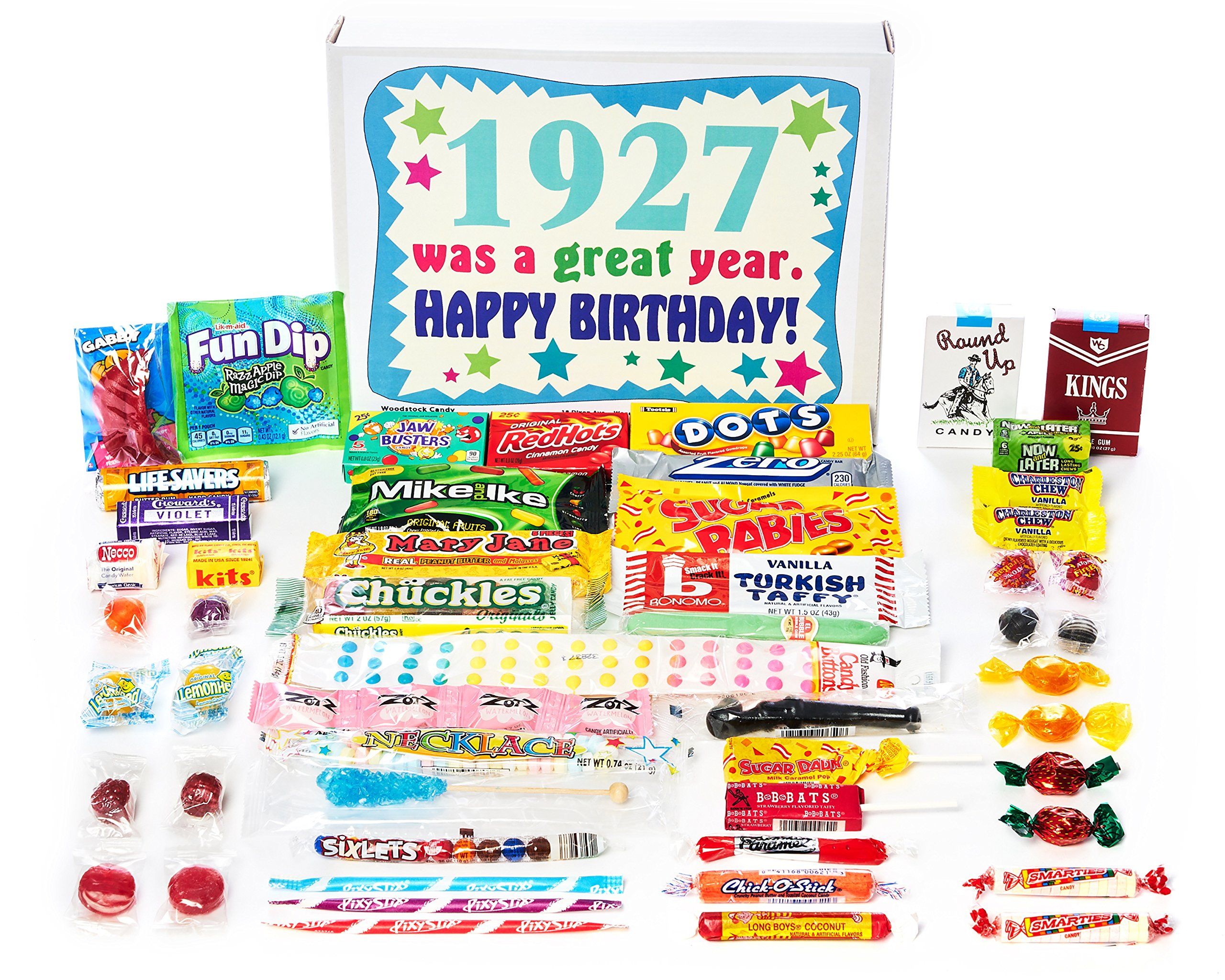 Woodstock Candy ~ 1927 92nd Birthday Gift Box of Nostalgic Retro Candy from Childhood for 92 Year Old Man or Woman Born 1927