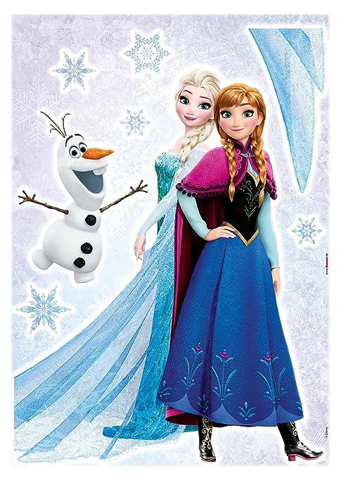 Komar - Disney - Deco-Sticker FROZEN SISTERS - 50 x 70 cm - Wandtattoo,  Wandaufkleber, Wandsticker, Wandbild, Eiskönigin, Elsa, Anna, Olaf - 14046h