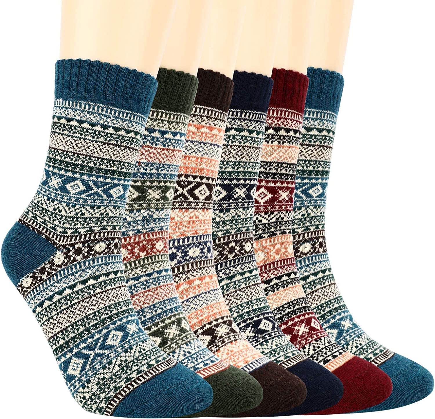 Women Warm Socks, Newegger 6 Pairs Thick Cold Knit Vintage Winter Soft Casual Cozy Socks for Women