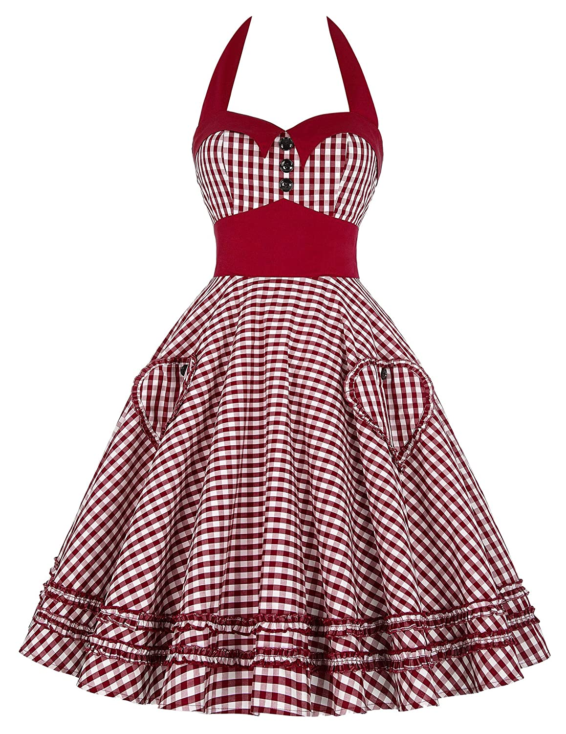 Vintage Polka Dot Dresses – Ditsy 50s Prints GRACE KARIN Womens Halter Neck Vintage Cocktail Dress JS6091 $28.99 AT vintagedancer.com