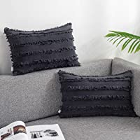 AmHoo Pack of 2 Cotton Linen Tassel Throw Pillow Covers Boho Home Decorative Square Pillowcases Soft Cushion Cover with…