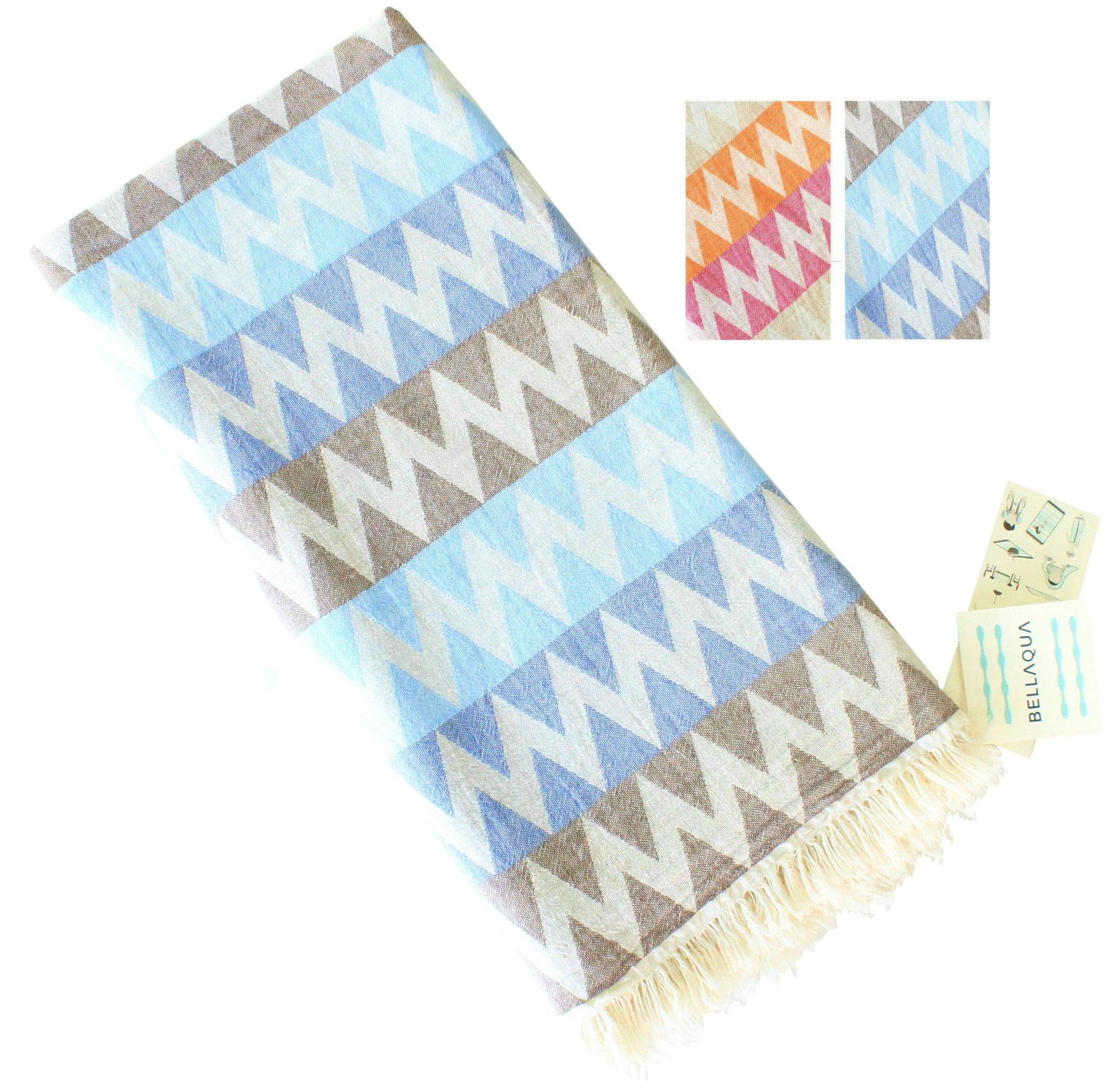 Bellaqua 100% Cotton Turkish Peshtemal Towel (1 pc) - Large 35 x 67 inches - Chevron Zigzag Jacquard - Beach Bath Spa Hammam Travel Camping - Lightweight Absorbent Compact Natural (Blue Navy Grey)
