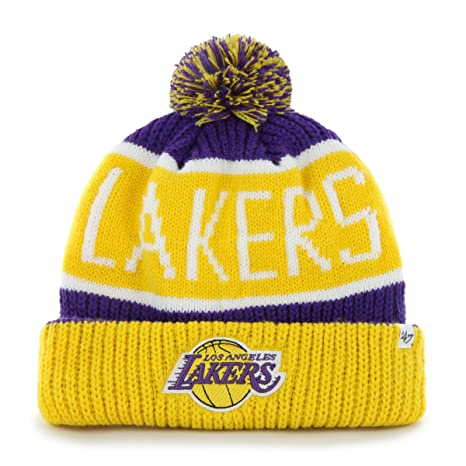 huge sale 8c310 979ee ... purple 70e67 c50a6  canada nba los angeles lakers 47 brand calgary cuff  knit hat with pom one size a980c