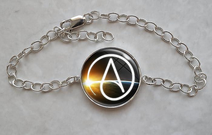 Amazon Atheist Symbol Sterling Silver Charm Bracelet Handmade