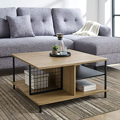 Walker Edison Metal and Wood Square Coffee Table Living Room Accent Ottoman Storage Shelf, 30 Inch, English Oak Brown