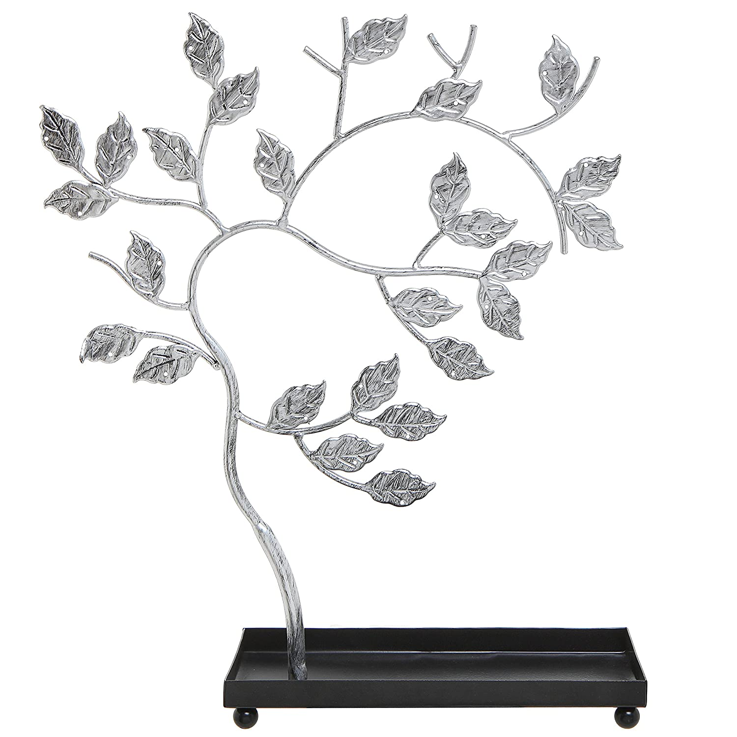 Silver-Tone Metal Jewelry Tree, Necklace, Bracelets & Earrings Hanger Display Stand Rack w/Ring Tray MyGift TB-J0174SIL