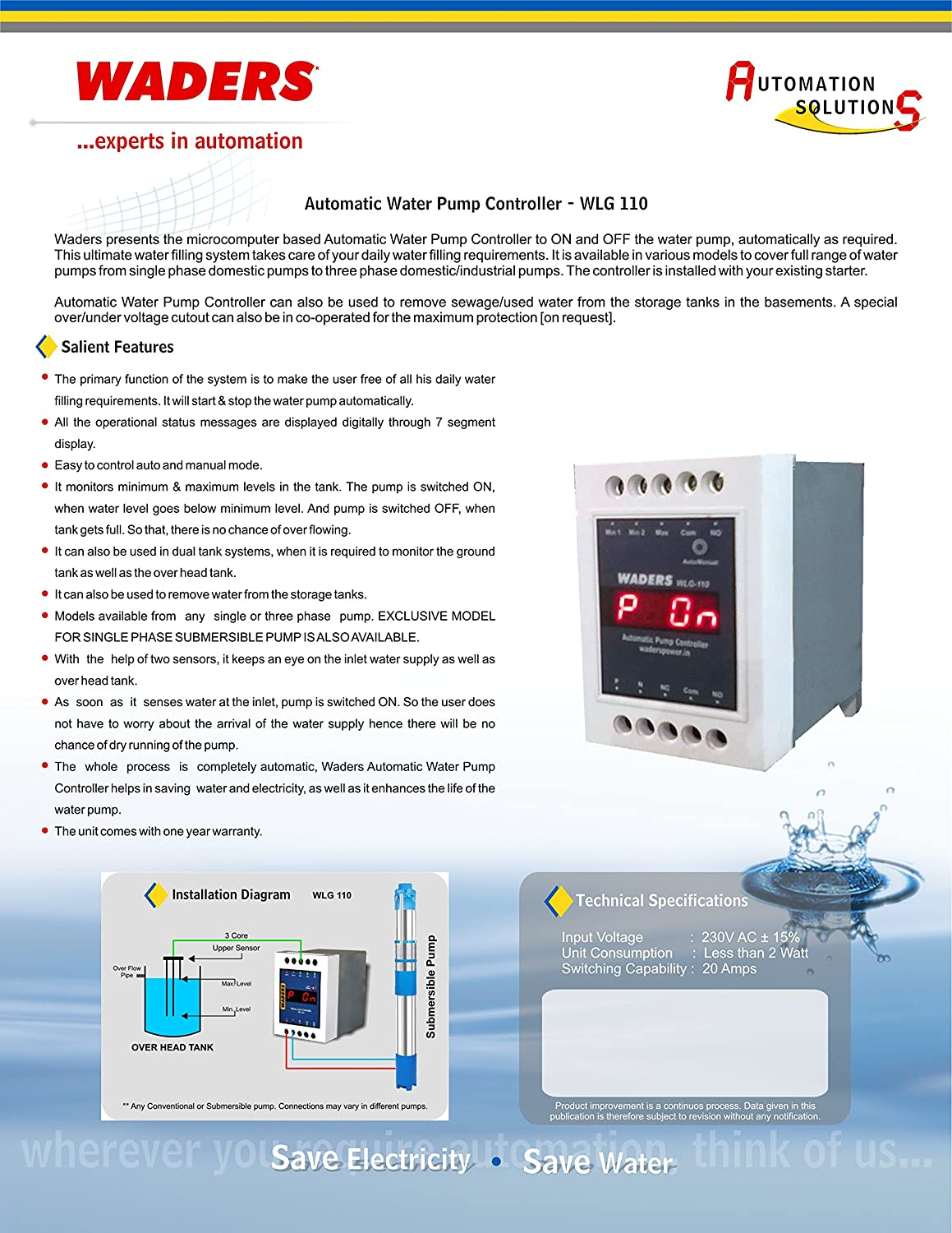 Waders Water Level Pump Controller Wlg 110 Sp Electronics Septic Control Box Wiring Diagram Free Picture