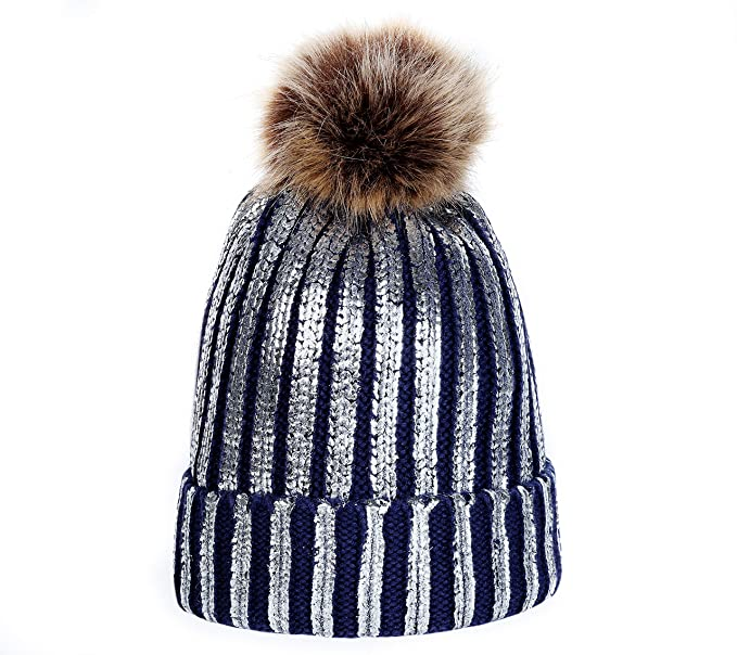 53e8e9ad8fe Amazon has a nice price on the Women Winter Pom Pom Knit Hats Metallic Shiny  Party Thick Slouchy Beanie at just  12.99 with FREE Prime shipping or free  ...