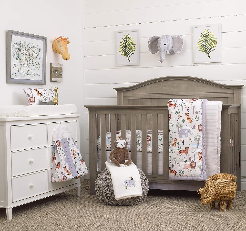 NoJo 8 Piece Crib Bedding Set with Comforter, Growing Wild Jungle Safari, Grey/Green/Orange/White, Growing Wild - 8pc