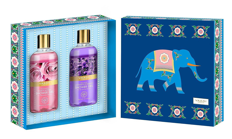 Shower Gel Gift Set – Sulfate-Free – Herbal Body Wash – Vaadi Herbals Exotic Floral Shower Gels Gift Box – Pack of 2 X 10.14 fl.oz