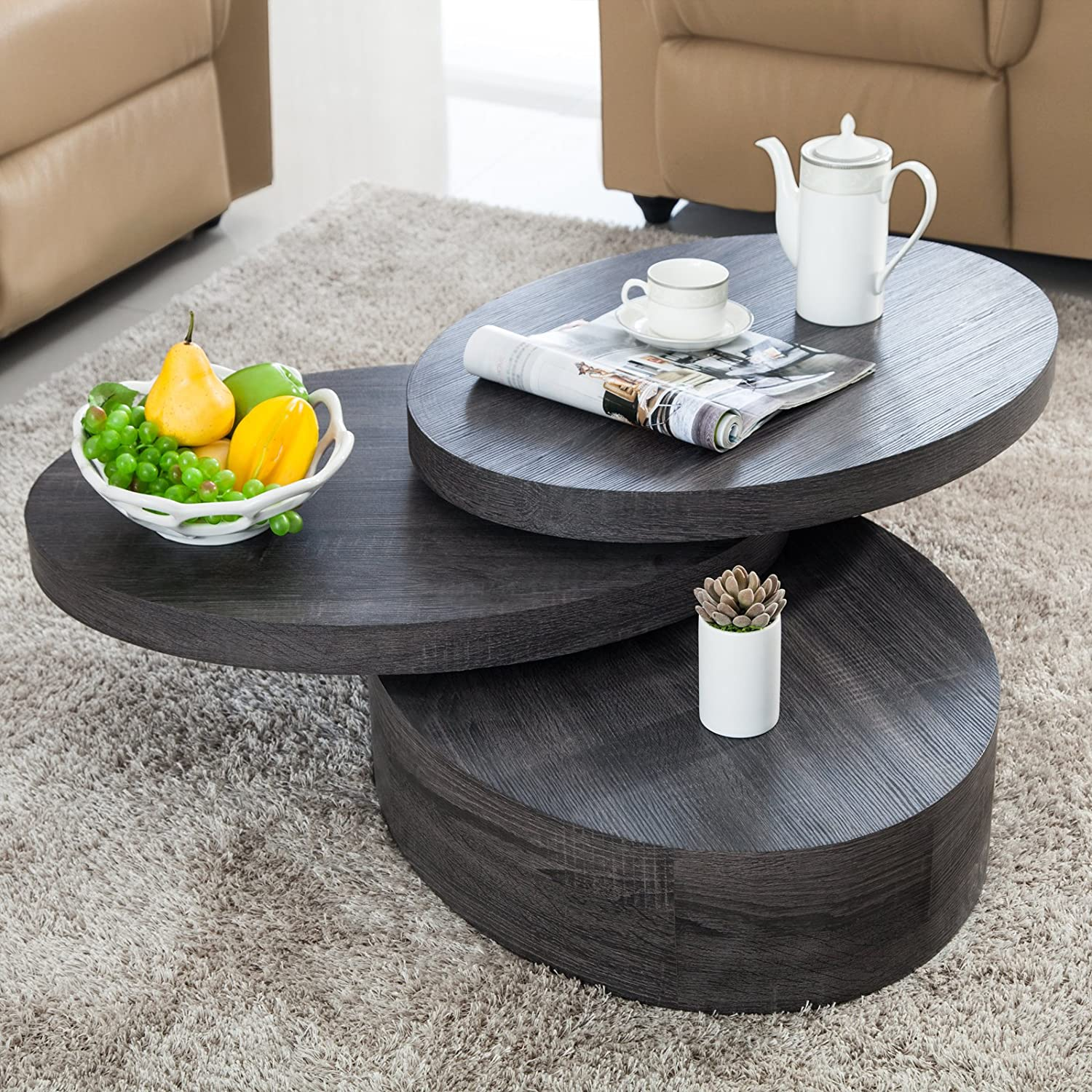 Amazon VIRREA Oak Round Rotating Wood Coffee Table with 3