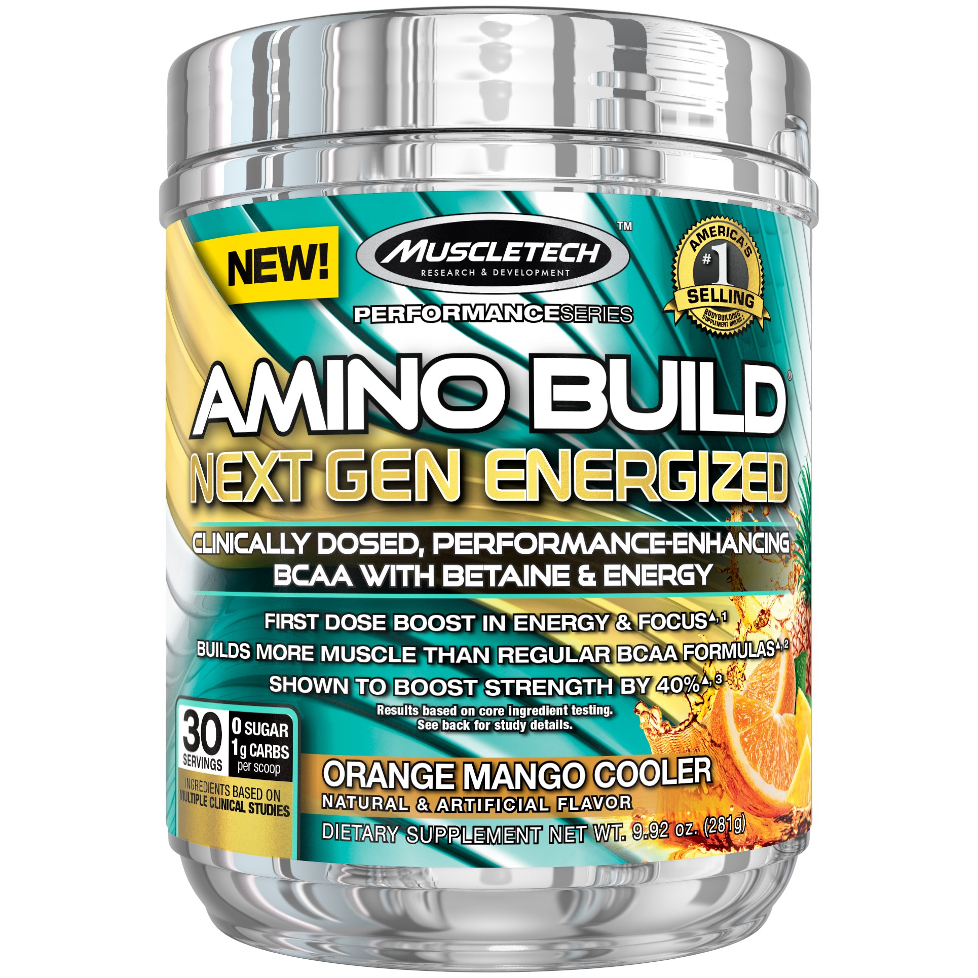 MuscleTech Amino Build Next Gen Energy Supplement, Formulated with BCAA Amino Acids, Betaine, Vitamin B12 & B6 for Muscle Strength & Endurance, Orange Mango Cooler, 30 Servings (282g)