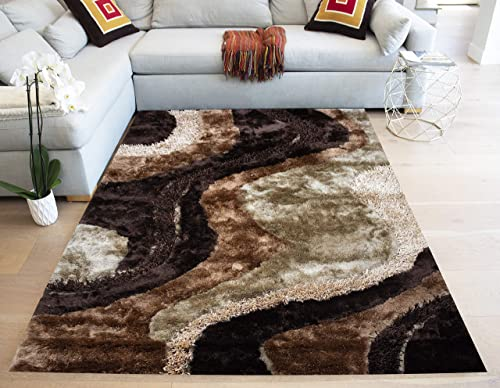 LA Fluffy Lines Shag Shaggy Striped Woven Braided Hand Knotted Feizy Accent Fluffy Fuzzy Modern Contemporary 8-Feet-by-10-Feet Polyester Made Area Rug Carpet Rug Brown Chocolate Beige Colors