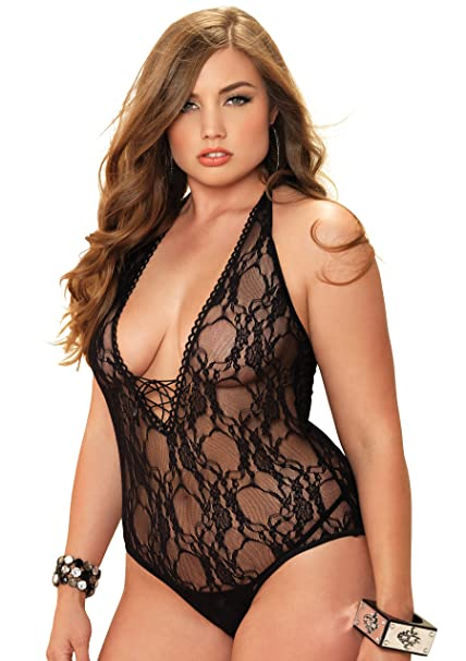 ae30e10876b Amazon.com  Leg Avenue Sexy Plus Size Floral Lace Teddy and Stocking ...