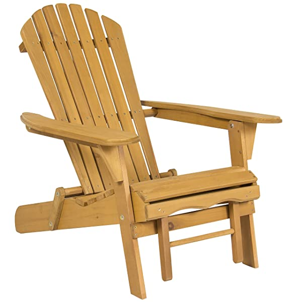 Best Choice Products Foldable Outdoor Patio Deck Wood Adirondack Chair w/Pull Out Ottoman - Natural