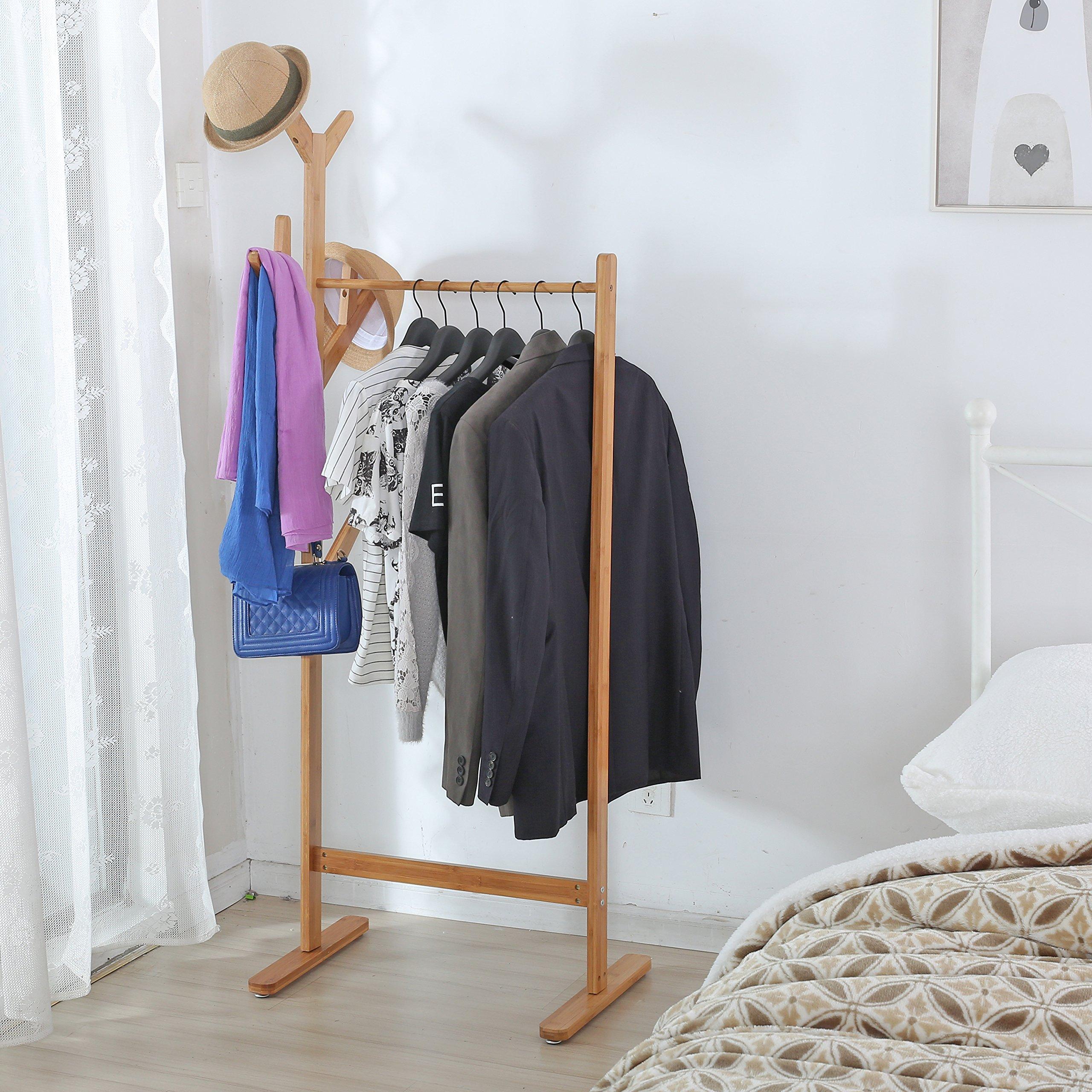 Freestanding Bamboo Wood Coat Rack, Entryway Hat Hooks Clothes Hanger Organizer