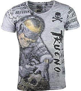 ca6e18c67f7f43 Herren T-Shirt - Skull Tattoo - Totenkopf Tätowierer - mit Strass Steinen -  grau
