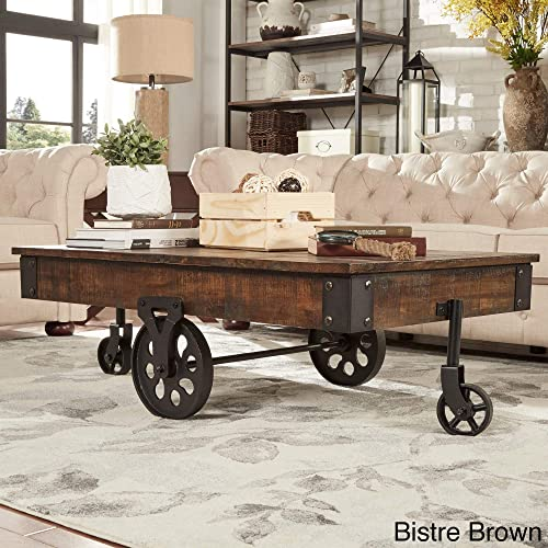 Inspire Q Myra Industrial and Rustic 47-inch Coffee Table by Classic Bistre Brown