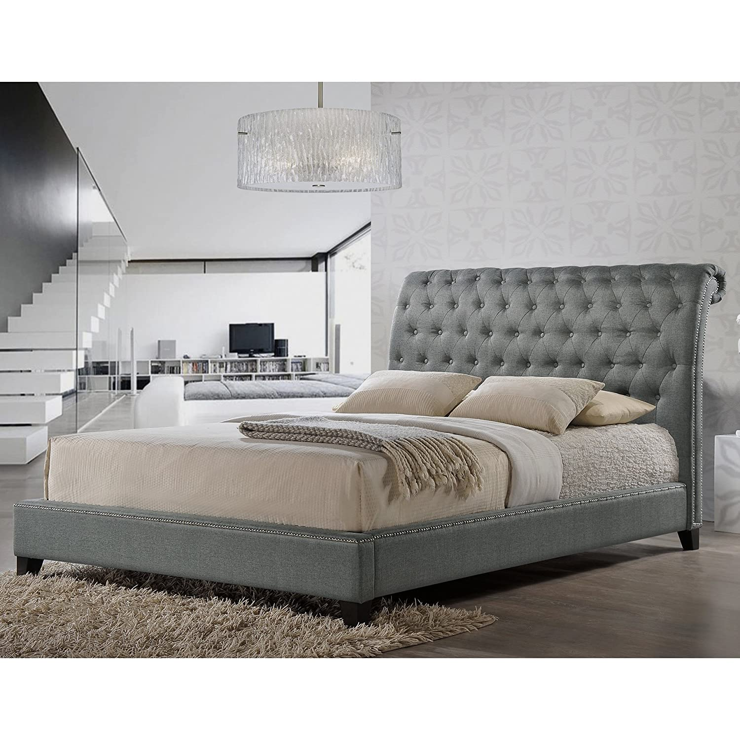 Design Tufted Bed amazon com baxton studio jazmin tufted modern bed with upholstered headboard queen light beige kitchen dining
