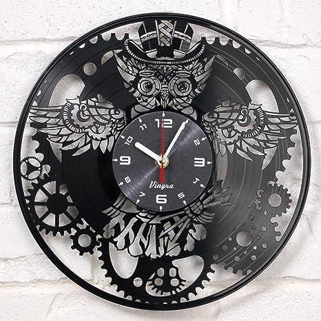 Steampunk reloj disco de vinilo reloj de pared vinilo búho mecánico engranajes Retro Gótico Vintage Decor ...