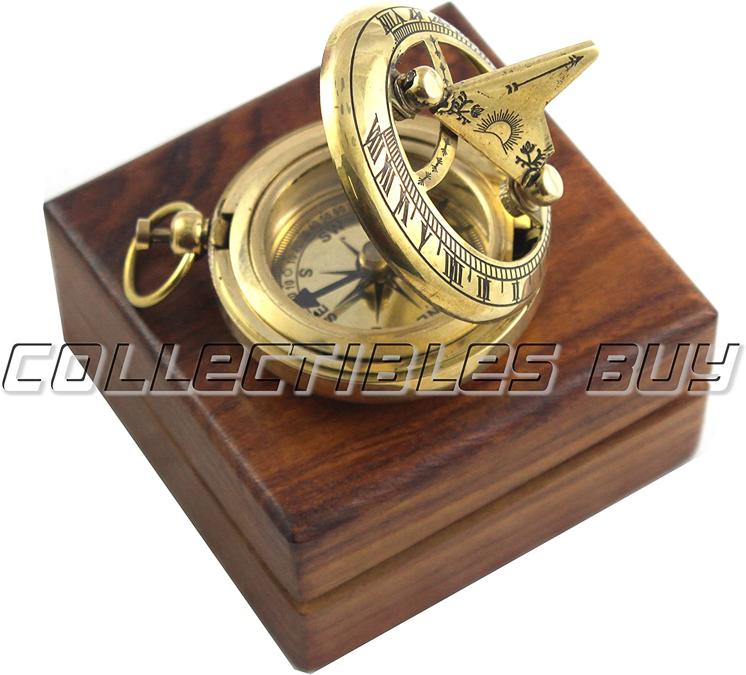 Marine Sundial Compass with Nautical Solid Wooden Box Vintage Brass Ship Navigate Device Nautical Gift Collection