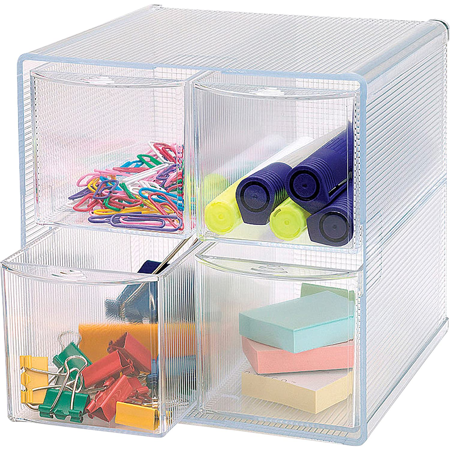 Sparco Storage Organizer, 4 Compartment, 6 x 7 1/4 x 6 Inches, Clear(SPR82977) S.P. Richards Company