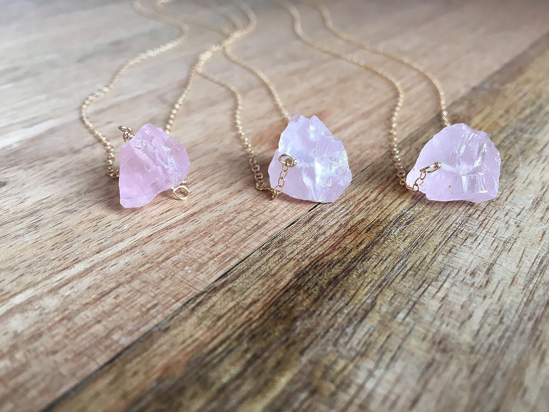 Raw Rose Quartz Crystal Necklace 16