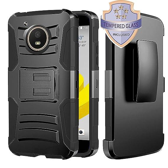 new product f3eb0 4bdfa Moto E4 Case, HJ Power[TM] For Motorola Moto E4/XT1767 (Verizon, Sprint,  Boost Mobile)--Hybrid H Stand Holster Case Black With Tempered Glass Screen  ...