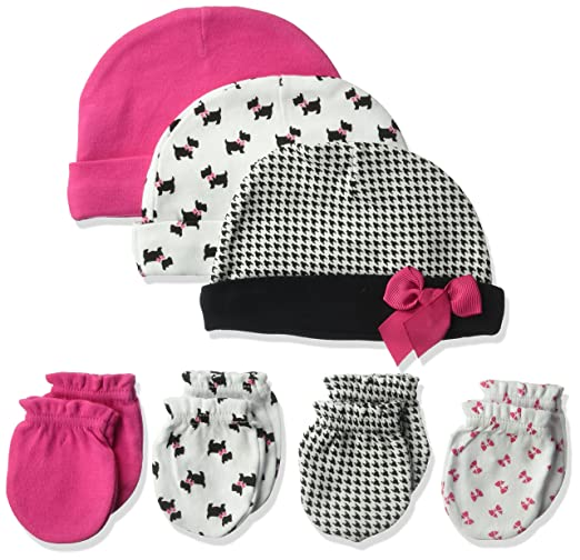 42acd46ab3f Amazon.com  Hudson Baby Baby Girls  Cotton Cap and Scratch Mitten Set   Clothing