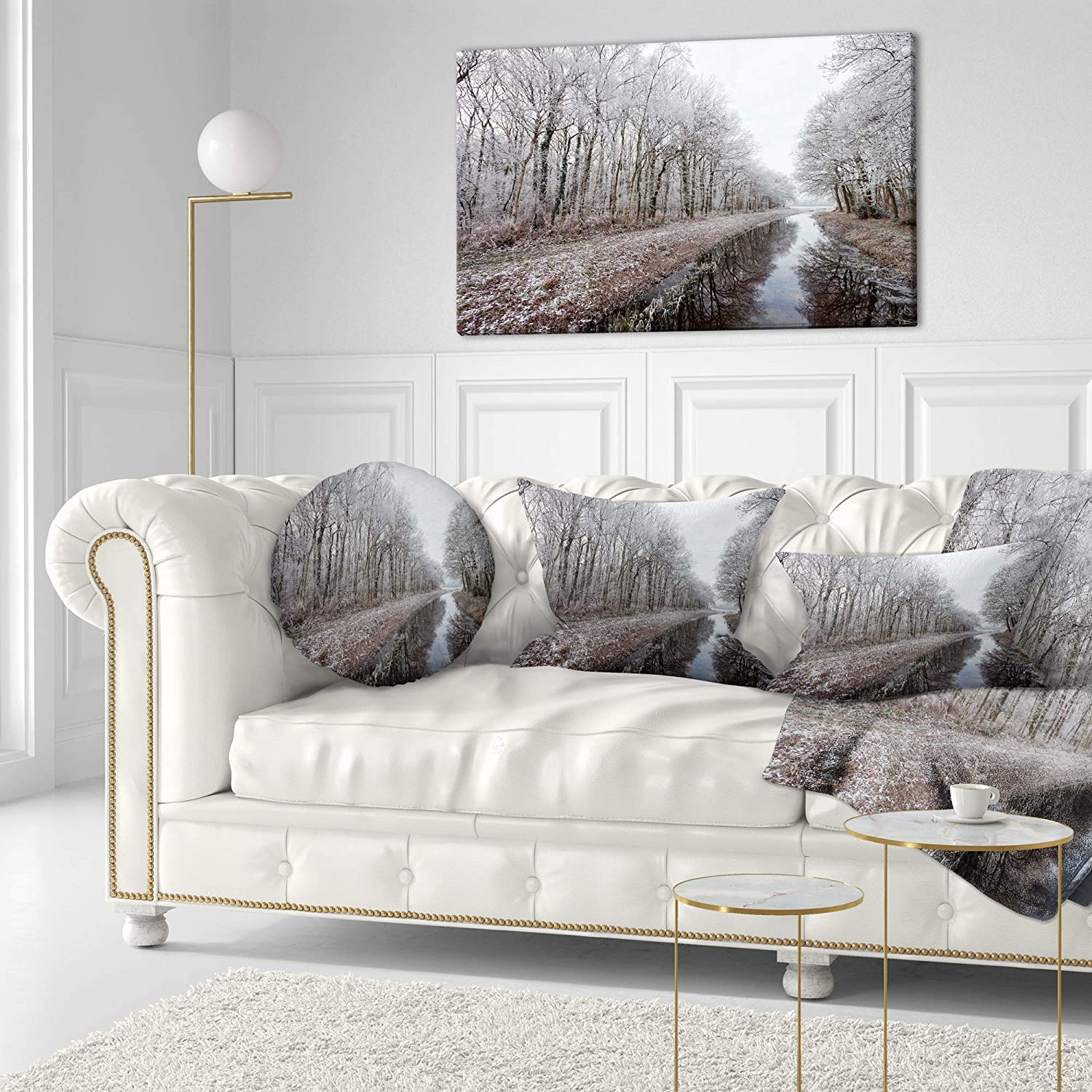 x 20 in 12 in Designart CU14807-12-20 Trees in White Winter Landscape Printed Lumbar Cushion Cover for Living Room Sofa Throw Pillow