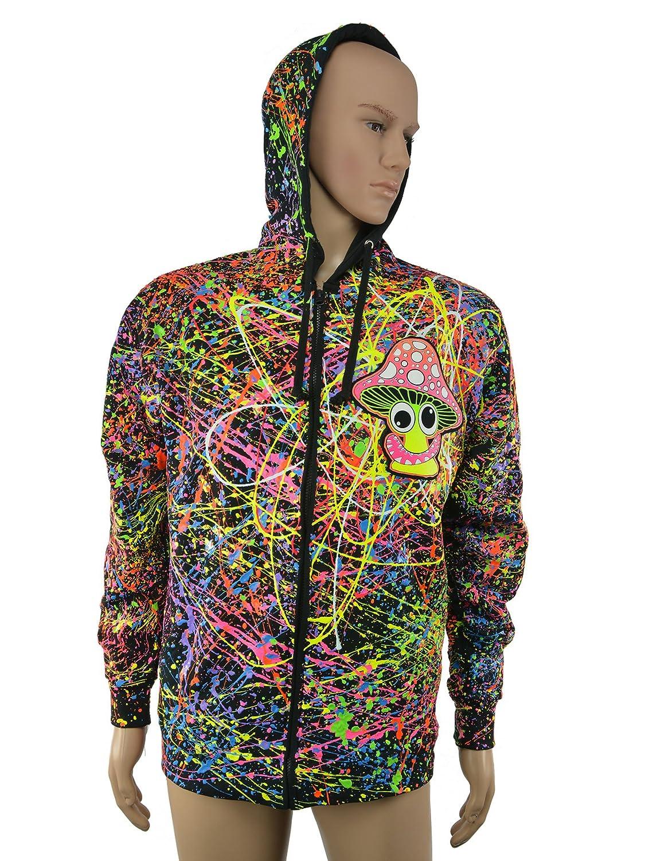 PSYWORK Schwarzlicht Hoodie Neon Happy Shroom