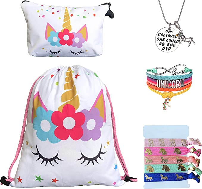 Unicorn Gifts for Girls Gift Set consisting of drawstring bag, makeup bag, pendant necklace, charm bracelet and hair ties